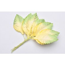 Листики 2-tone green/white Mulberry Paper Leaves - 45mm