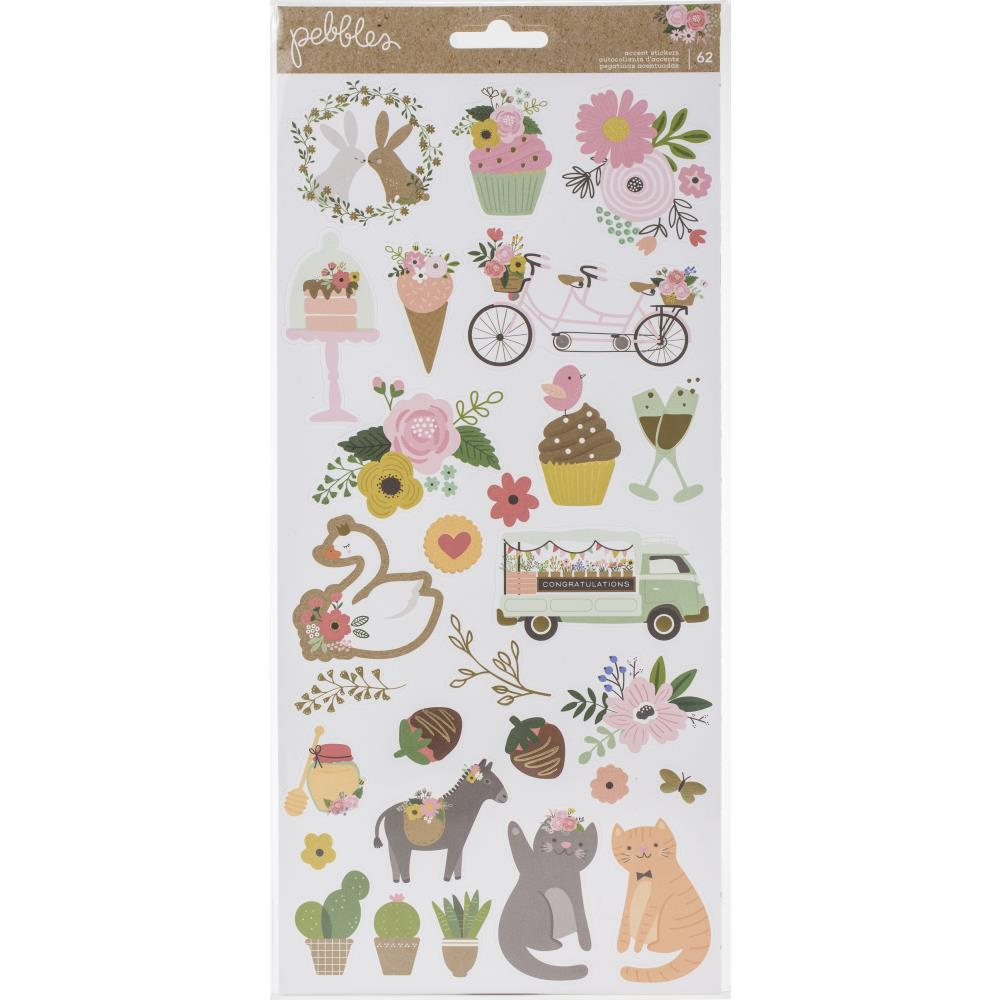 Наклейки Pebbles - Lovely Moments Stickers - Icons W/Gold Foil Accents